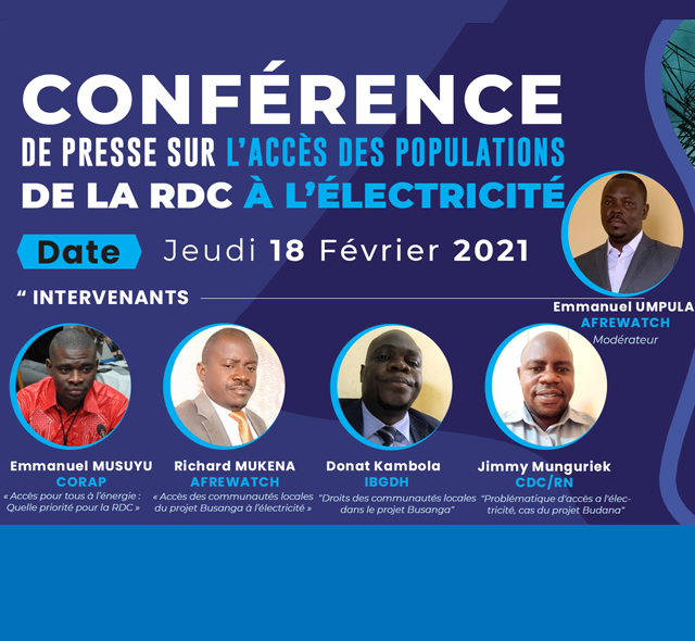Conférence de presse sur l'accès des populations de la RDC à l'électricité