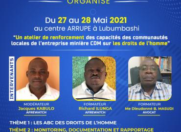 AFREWATCH  organise Du 27 au 28 Mai 2021  au centre ARRUPE à Lubumbashi
