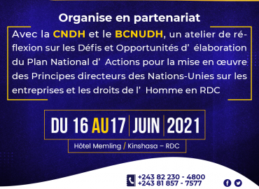AFREWATCH, CNDH et BCNUDH organisent du 16 au 17 juin 2021 à Kinshasa